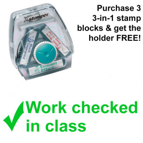 School Stamps | Work checked in class - 3-in-1 Xstamper Twist Teacher Stamp