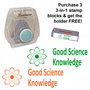 School Stamps | Good Science Knowledge - 3-in-1 XStamper, Multi Stamp. Green or orange ink