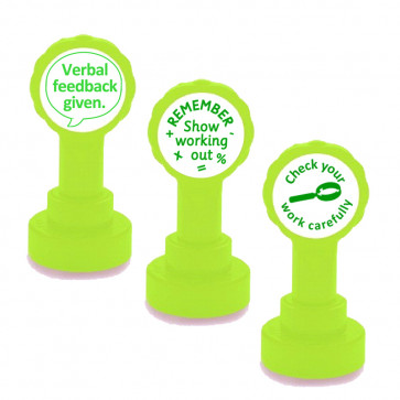 School Teacher Stamp | 3 Stamp Set - Verbal Feedback, Show your working out, Check your work carefully - Self-Inking Stamp Set