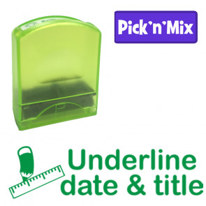 School stamps   Underline date & title, Green Ink Teacher Stamp