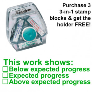 School Stamps | Progress indicator (below / at / above expected level) - 3-in-1 XStamper, Twist n Stamp
