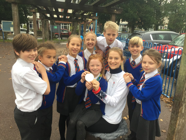 Bryony Page with the trampolining Pupils at The Willows Primary School